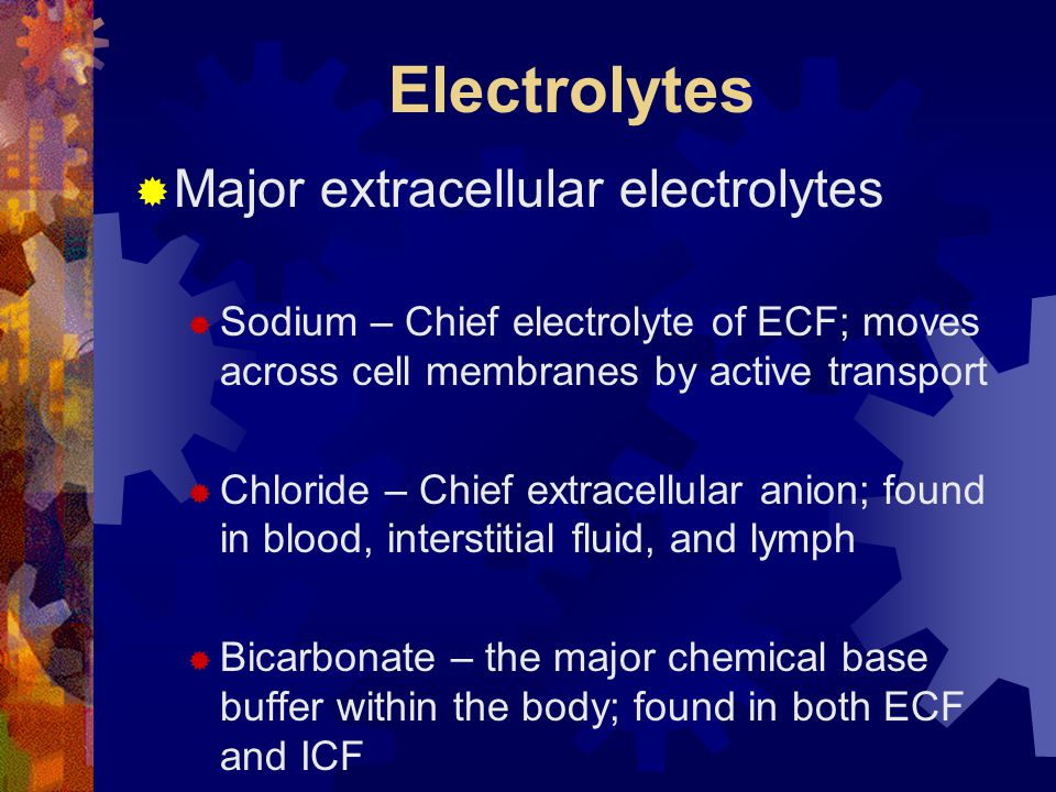 Electrolytes  Major extracellular electrolytes  Sodium – Chief electrolyte of ECF; moves across cell membranes by active transport  Chloride – Chief extracellular anion; found in blood, interstitial fluid, and lymph  Bicarbonate – the major chemical base buffer within the body; found in both ECF and ICF