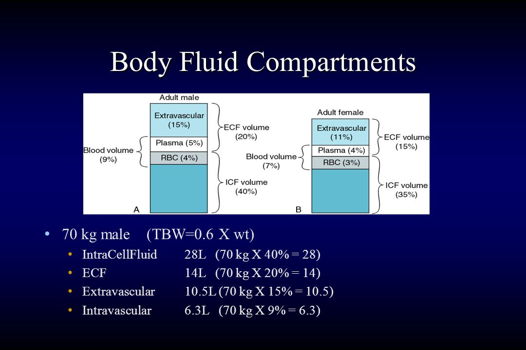 Body Fluid Compartments Adult humans are 50% - 70% water Women and the elderly have higher % of body fat than young men, and thus less water. For all