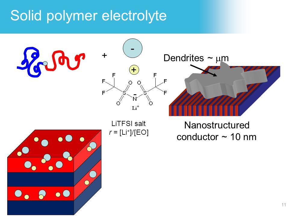 Solid polymer electrolyte 11 Dendrites ~  m Nanostructured conductor ~ 10 nm LiTFSI salt r = [Li + ]/[EO] + - - +