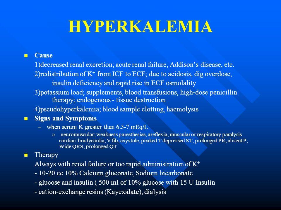 HYPERKALEMIA Cause 1)decreased renal excretion; acute renal failure, Addison's disease, etc.