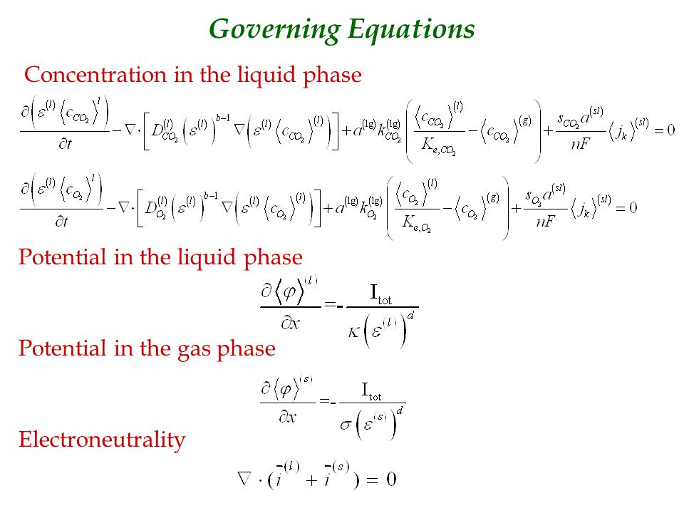 Governing Equations Concentration in the liquid phase Potential in the liquid phase Potential in the gas phase Electroneutrality