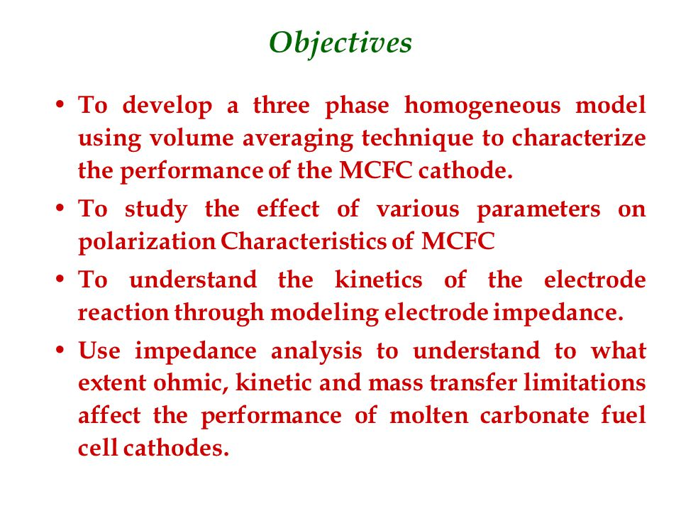 Developed a three phase homogeneous model using volume averaging technique to characterize the performance of the MCFC cathode.