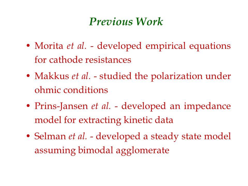 Previous Work Morita et al. - developed empirical equations for cathode resistances Makkus et al.
