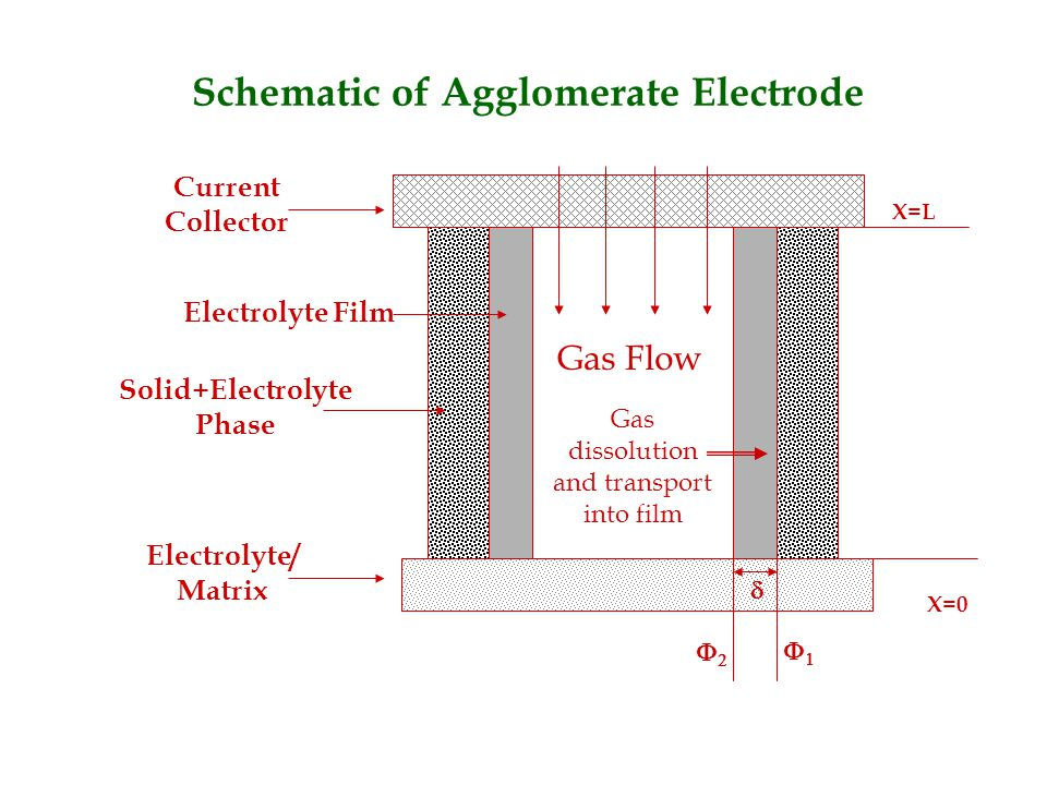 Schematic of Agglomerate Electrode Current Collector Electrolyte/ Matrix Solid+Electrolyte Phase Electrolyte Film Gas Flow Gas dissolution and transport into film    X=0 X=L