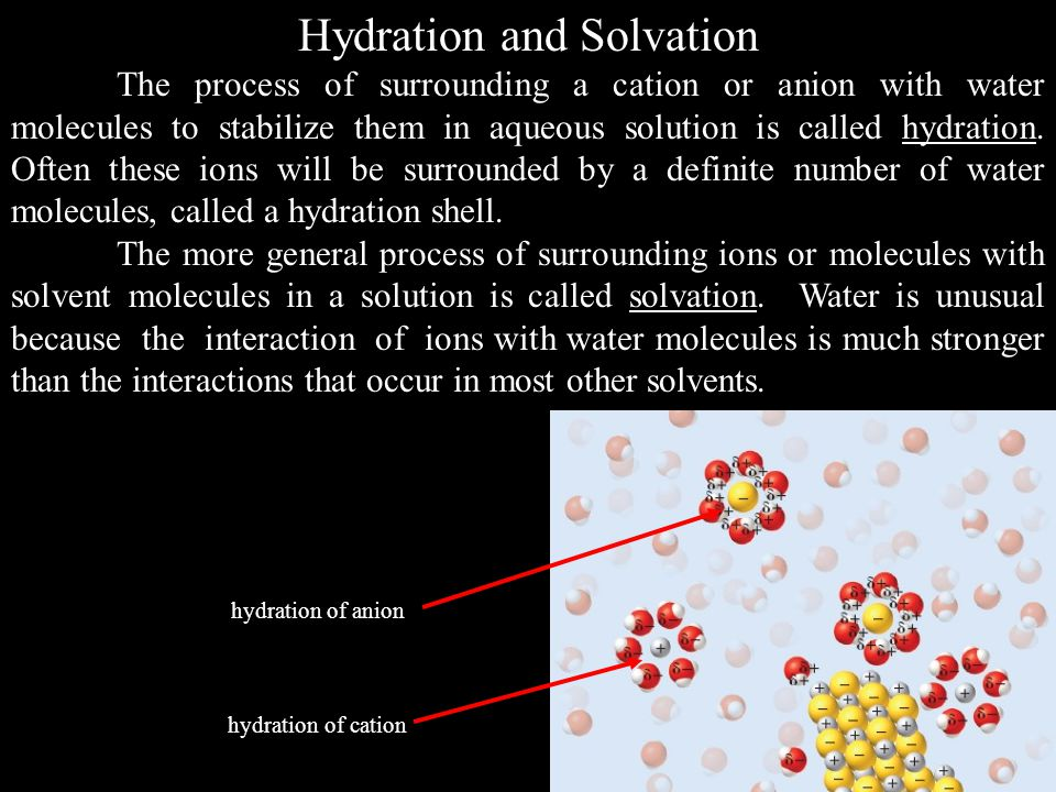 Hydration and Solvation The process of surrounding a cation or anion with water molecules to stabilize them in aqueous solution is called hydration.