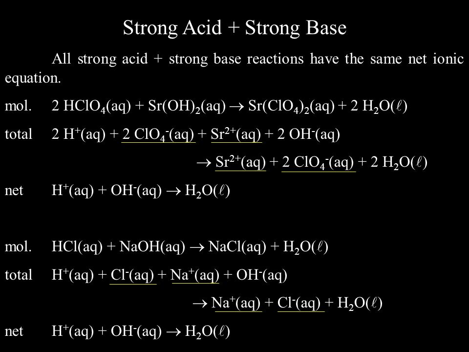 Strong Acid + Strong Base All strong acid + strong base reactions have the same net ionic equation.