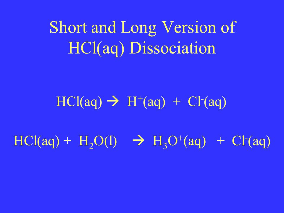 Short and Long Version of HCl(aq) Dissociation HCl(aq)  H + (aq) + Cl - (aq) HCl(aq) + H 2 O(l)  H 3 O + (aq) + Cl - (aq)