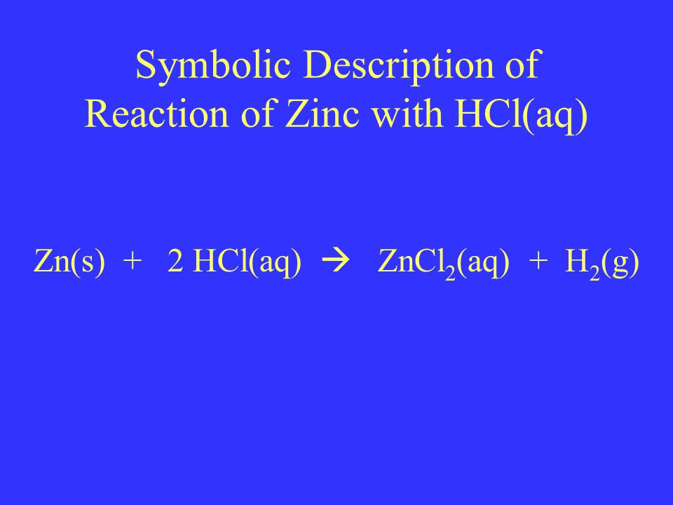Symbolic Description of Reaction of Zinc with HCl(aq) Zn(s) + 2 HCl(aq)  ZnCl 2 (aq) + H 2 (g)