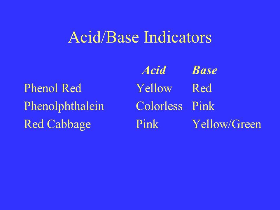 Acid/Base Indicators AcidBase Phenol RedYellowRed PhenolphthaleinColorlessPink Red CabbagePinkYellow/Green