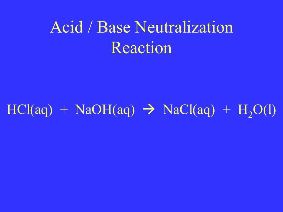 Acid / Base Neutralization Reaction HCl(aq) + NaOH(aq)  NaCl(aq) + H 2 O(l)