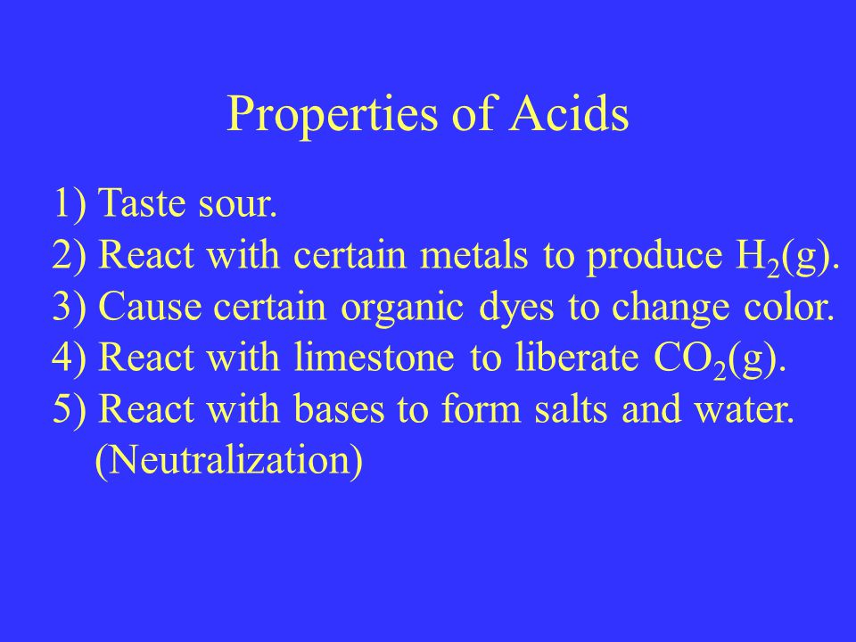 Properties of Acids 1) Taste sour. 2) React with certain metals to produce H 2 (g).