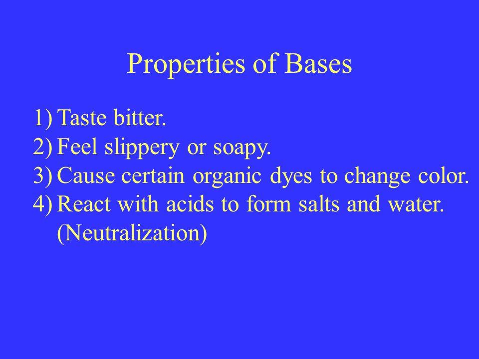 Properties of Bases 1)Taste bitter.2)Feel slippery or soapy.