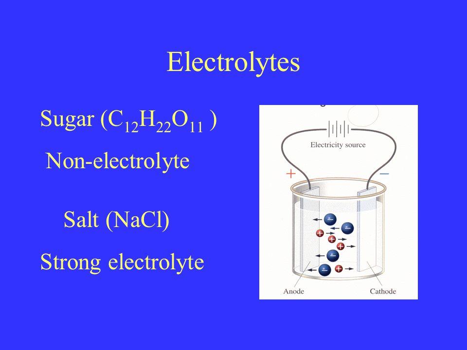Electrolytes Salt (NaCl) Strong electrolyte Sugar (C 12 H 22 O 11 ) Non-electrolyte