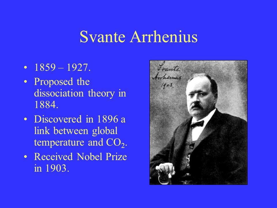 Svante Arrhenius 1859 – 1927.Proposed the dissociation theory in 1884.