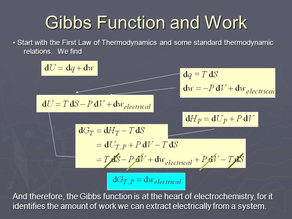 Gibbs Function and Work Start with the First Law of Thermodynamics and some standard thermodynamic relations. We find Start with the First Law of Ther