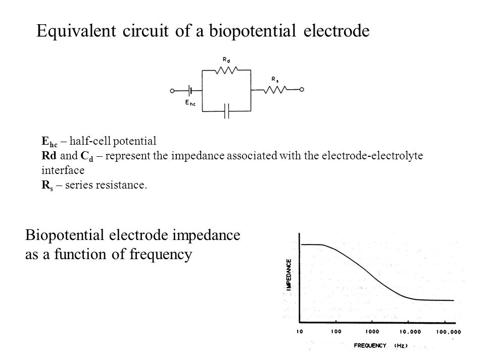 Equivalent circuit of a biopotential electrode E hc – half-cell potential Rd and C d – represent the impedance associated with the electrode-electrolyte interface R s – series resistance.