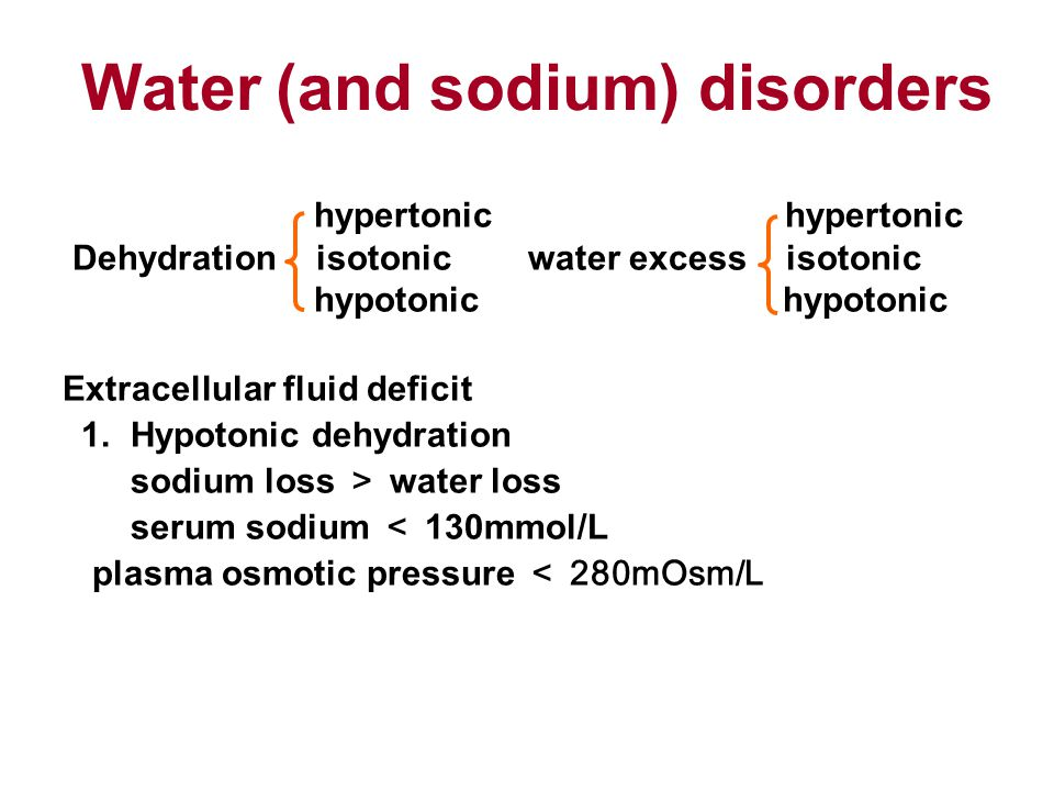 hypertonic hypertonic Dehydration isotonic water excess isotonic hypotonic hypotonic Extracellular fluid deficit 1.