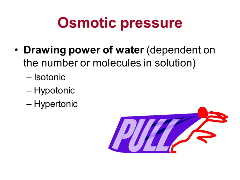 Osmotic pressure Drawing power of water (dependent on the number or molecules in solution) –Isotonic –Hypotonic –Hypertonic