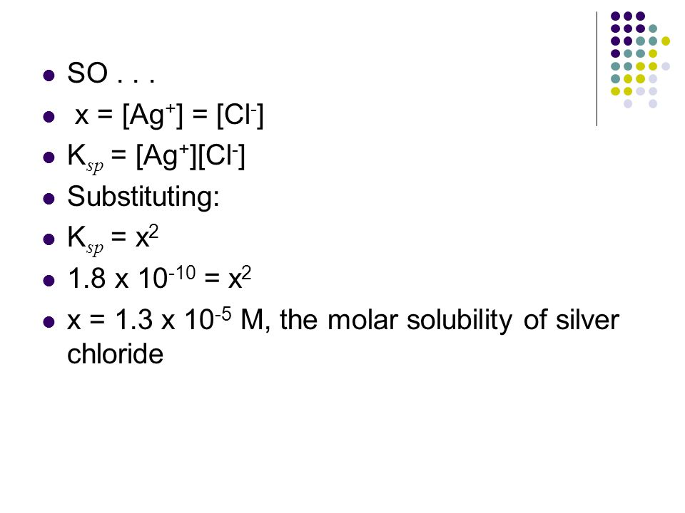 SO... x = [Ag + ] = [Cl - ] K sp = [Ag + ][Cl - ] Substituting: K sp = x 2 1.8 x 10 -10 = x 2 x = 1.3 x 10 -5 M, the molar solubility of silver chlori