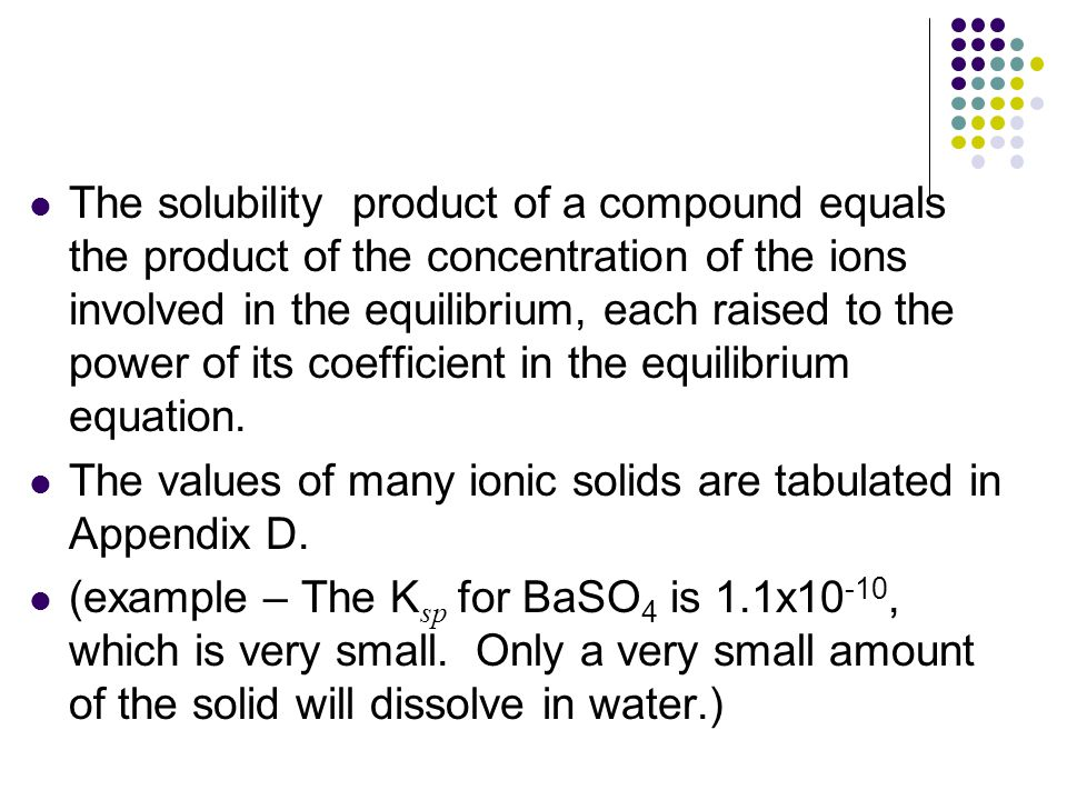 The solubility product of a compound equals the product of the concentration of the ions involved in the equilibrium, each raised to the power of its
