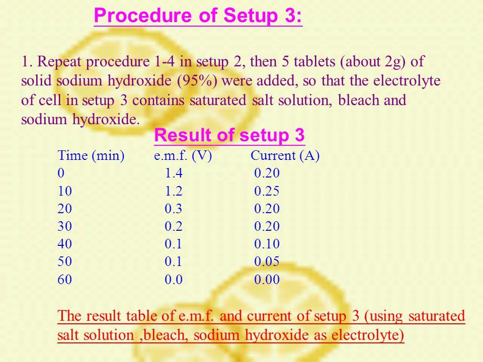 Procedure of Setup 3: 1.