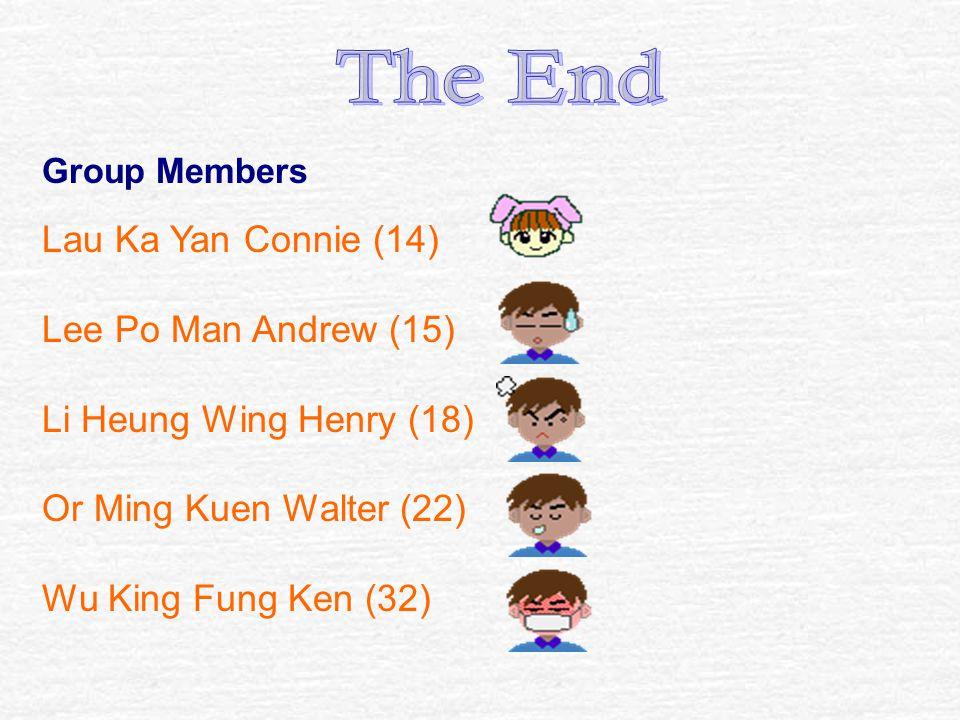 Group Members Lau Ka Yan Connie (14) Lee Po Man Andrew (15) Li Heung Wing Henry (18) Or Ming Kuen Walter (22) Wu King Fung Ken (32)