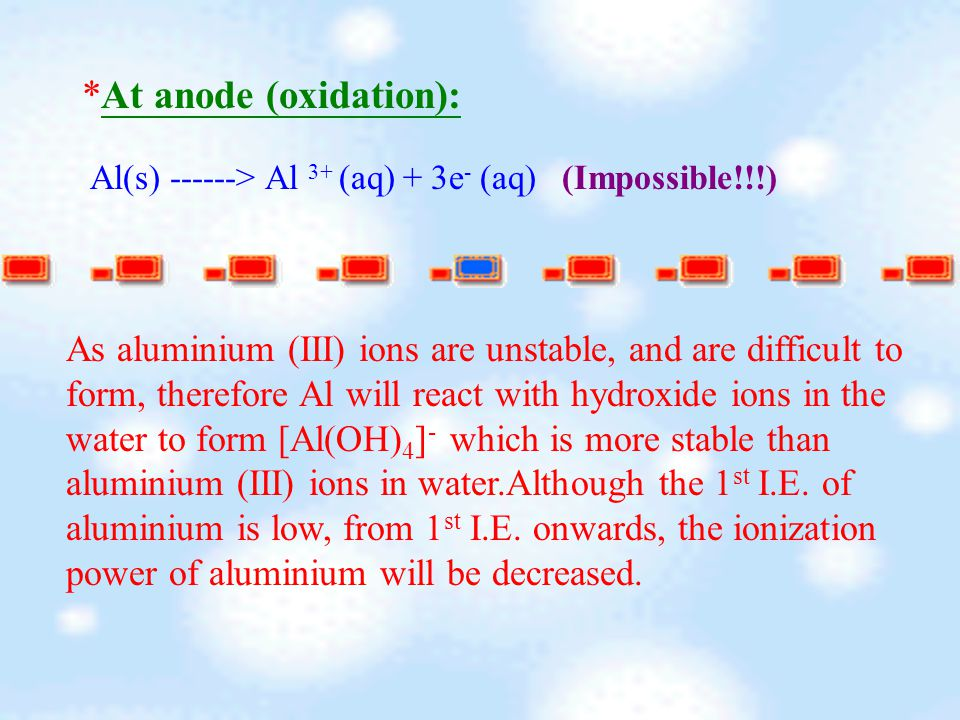 *At anode (oxidation): Al(s) ------> Al 3+ (aq) + 3e - (aq) (Impossible!!!) As aluminium (III) ions are unstable, and are difficult to form, therefore Al will react with hydroxide ions in the water to form [Al(OH) 4 ] - which is more stable than aluminium (III) ions in water.Although the 1 st I.E.
