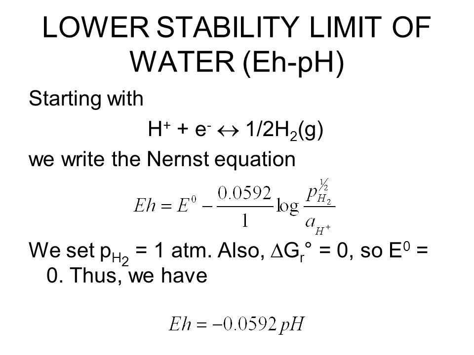 LOWER STABILITY LIMIT OF WATER (Eh-pH) Starting with H + + e -  1/2H 2 (g) we write the Nernst equation We set p H 2 = 1 atm.