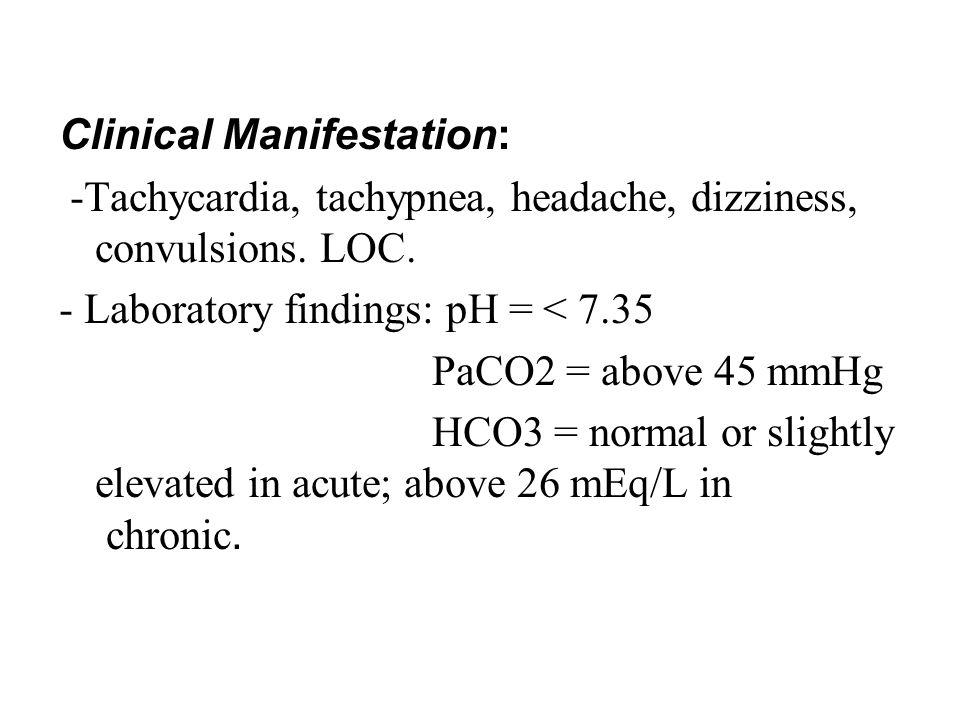 Clinical Manifestation: -Tachycardia, tachypnea, headache, dizziness, convulsions.