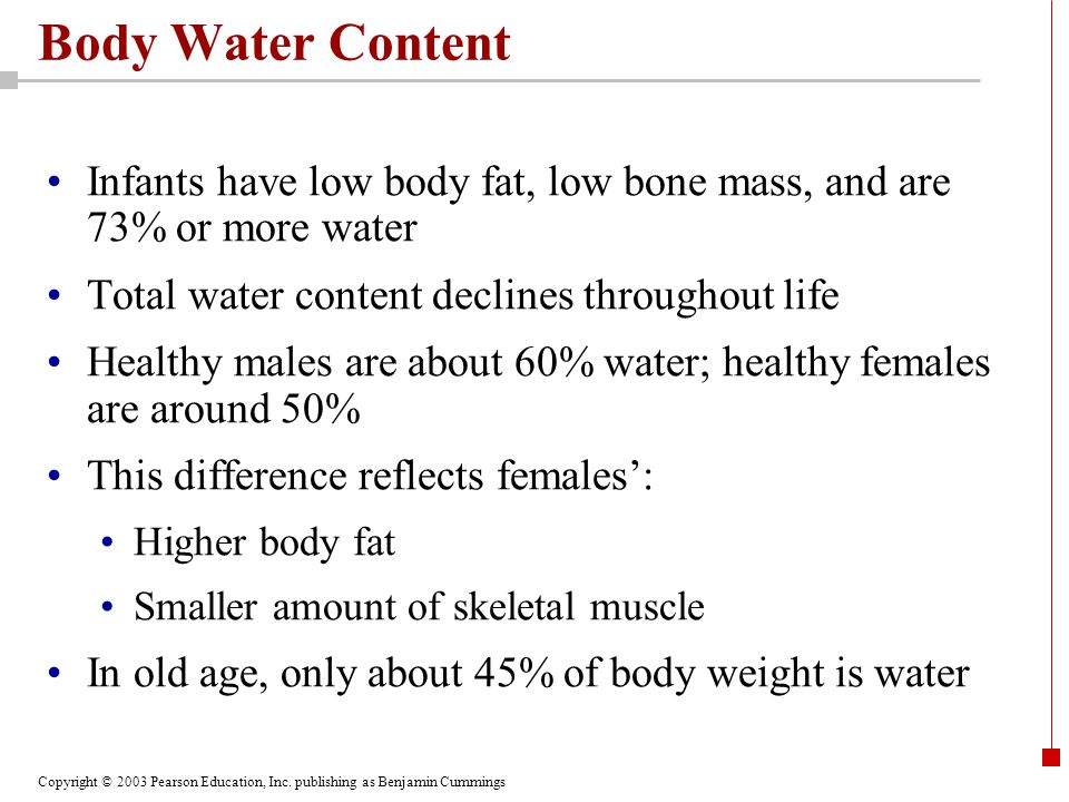Copyright © 2003 Pearson Education, Inc. publishing as Benjamin Cummings Body Water Content Infants have low body fat, low bone mass, and are 73% or m