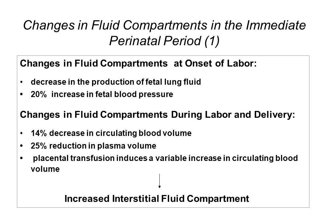 Changes in Fluid Compartments at Onset of Labor: decrease in the production of fetal lung fluid 20% increase in fetal blood pressure Changes in Fluid