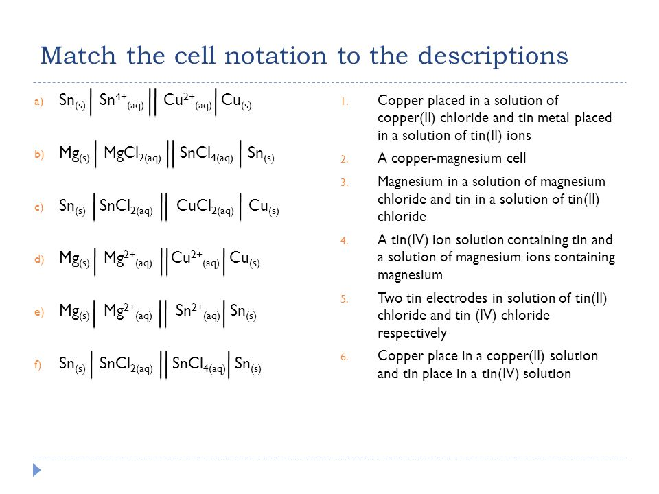  Example: Silver-Copper Cell Cu (s) Cu 2+ (aq) Ag + (aq) Ag (s) 1.