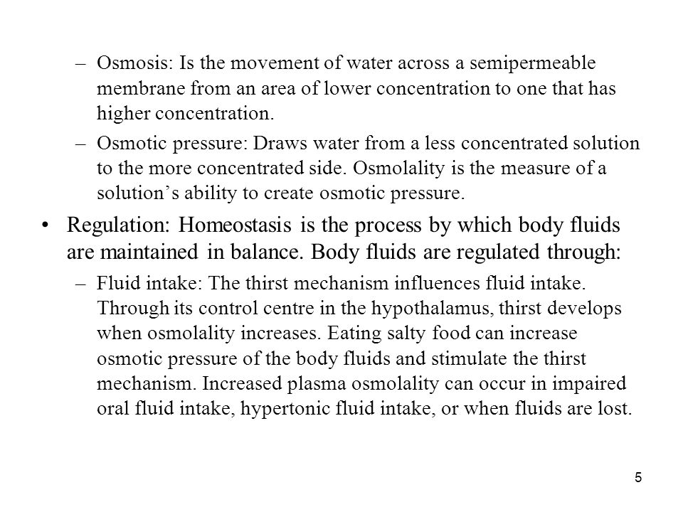 5 –Osmosis: Is the movement of water across a semipermeable membrane from an area of lower concentration to one that has higher concentration. –Osmoti