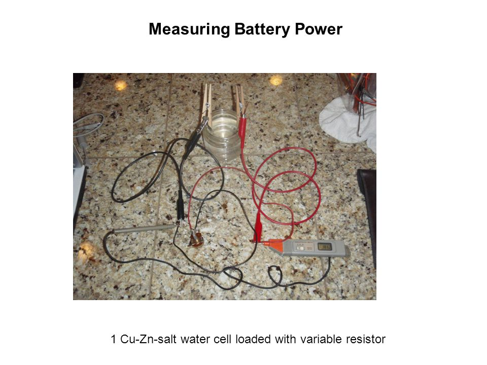 Measuring Battery Power 1 Cu-Zn-salt water cell loaded with variable resistor