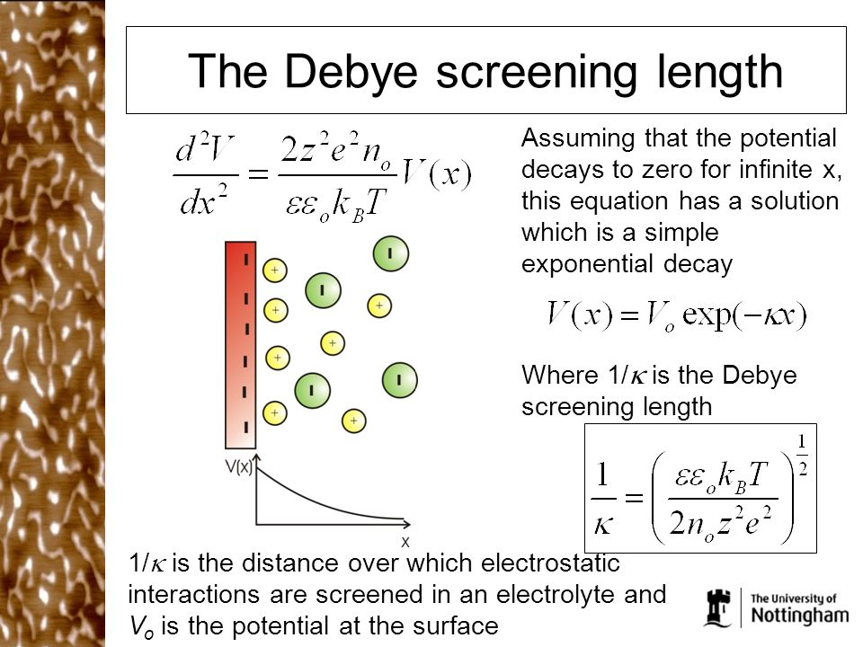 The Debye screening length Assuming that the potential decays to zero for infinite x, this equation has a solution which is a simple exponential decay Where 1/  is the Debye screening length 1/  is the distance over which electrostatic interactions are screened in an electrolyte and V o is the potential at the surface