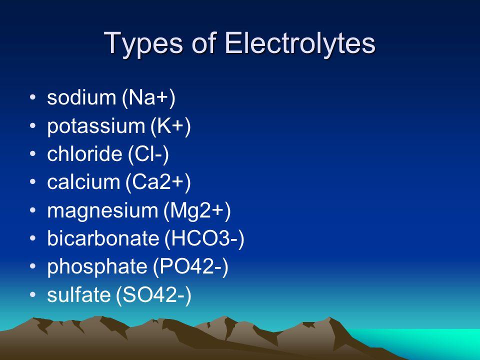 Types of Electrolytes sodium (Na+) potassium (K+) chloride (Cl-) calcium (Ca2+) magnesium (Mg2+) bicarbonate (HCO3-) phosphate (PO42-) sulfate (SO42-)