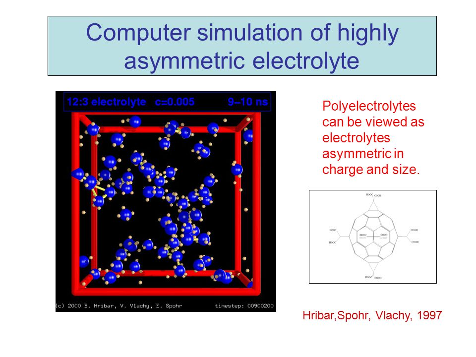 Computer simulation of highly asymmetric electrolyte Polyelectrolytes can be viewed as electrolytes asymmetric in charge and size. Hribar,Spohr, Vlach