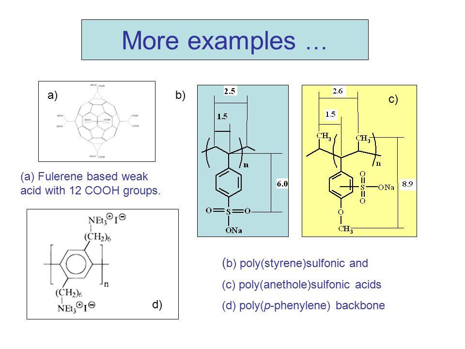 More examples … ( b) poly(styrene)sulfonic and (c) poly(anethole)sulfonic acids (d) poly(p-phenylene) backbone (a) Fulerene based weak acid with 12 CO