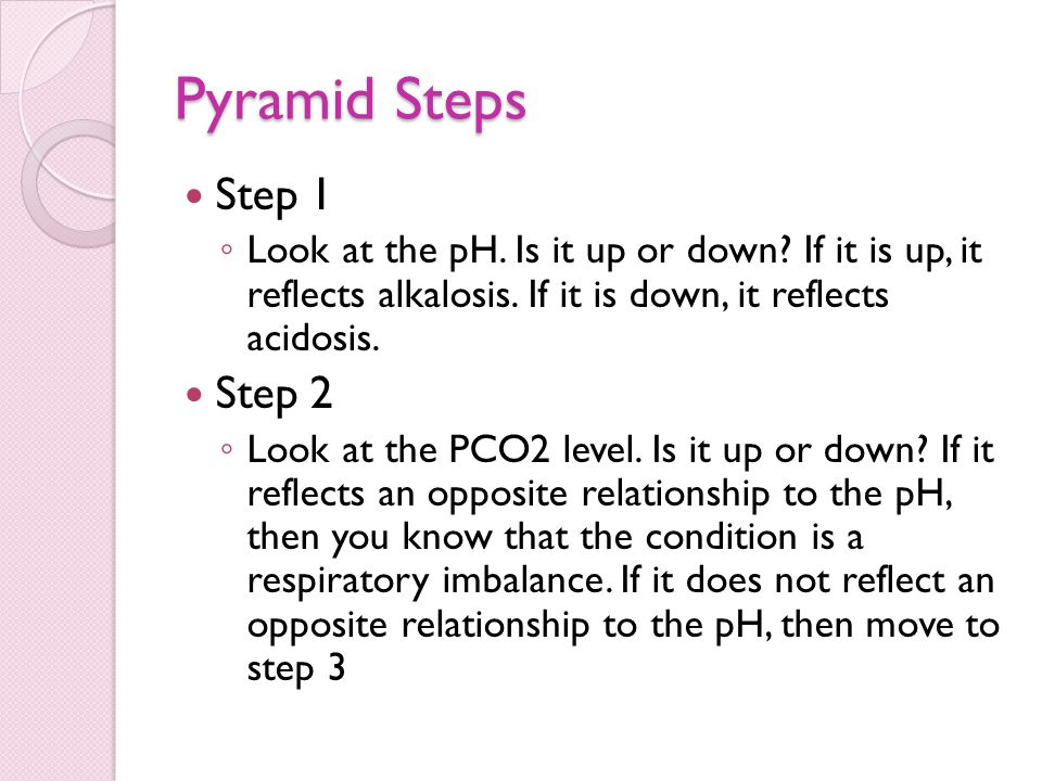 Pyramid Steps Step 1 ◦ Look at the pH. Is it up or down? If it is up, it reflects alkalosis. If it is down, it reflects acidosis. Step 2 ◦ Look at the