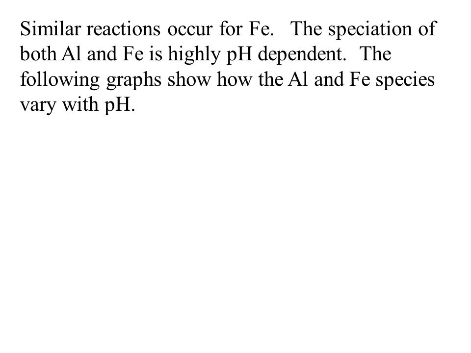 Similar reactions occur for Fe.The speciation of both Al and Fe is highly pH dependent.