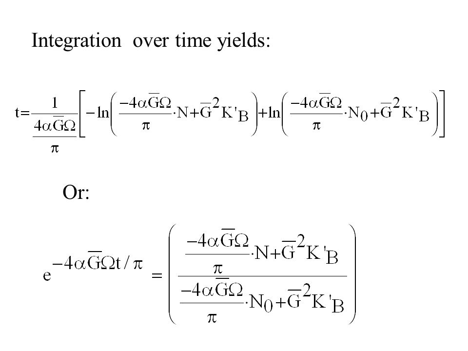Integration over time yields: Or: