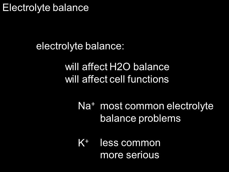 Electrolyte balance Na + too much  ADH,  retain H 2 O renin-angiotensinogen  retain Na +, H 2 O too little  ADH,  lose H 2 O ANP, BNP  lose Na +, H 2 O