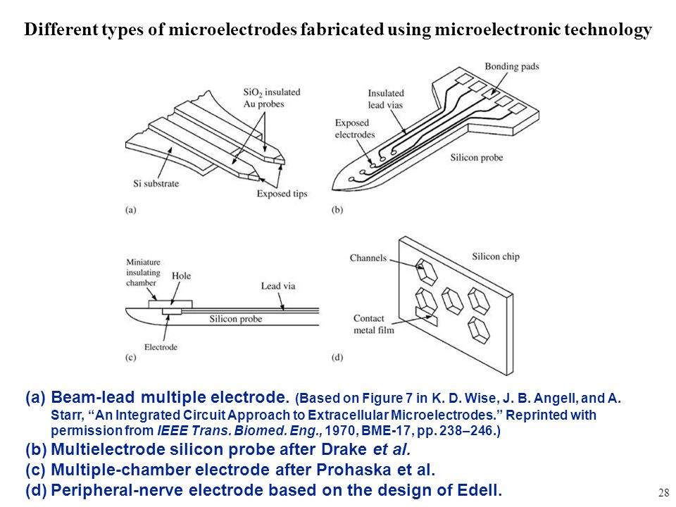 """fig_05_20 (a)Beam-lead multiple electrode. (Based on Figure 7 in K. D. Wise, J. B. Angell, and A. Starr, """"An Integrated Circuit Approach to Extracellu"""