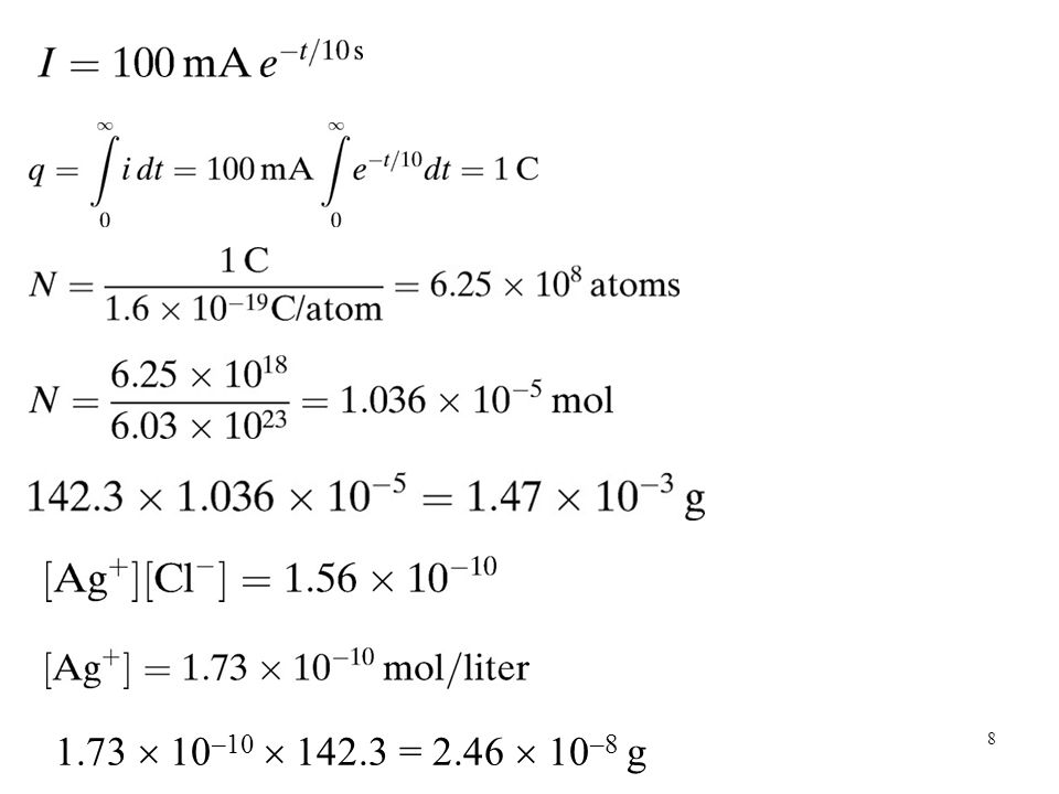 1.73  10 –10  142.3 = 2.46  10 –8 g 8