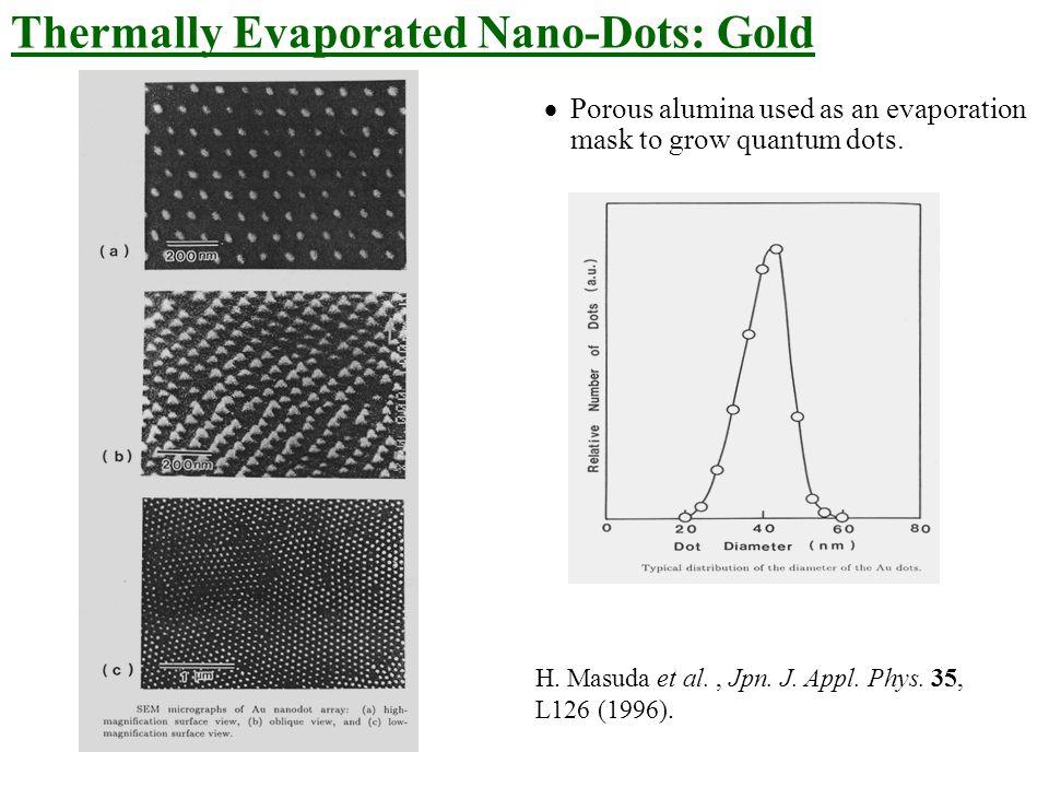 H. Masuda et al., Jpn. J. Appl. Phys. 35, L126 (1996).  Porous alumina used as an evaporation mask to grow quantum dots. Thermally Evaporated Nano-Do