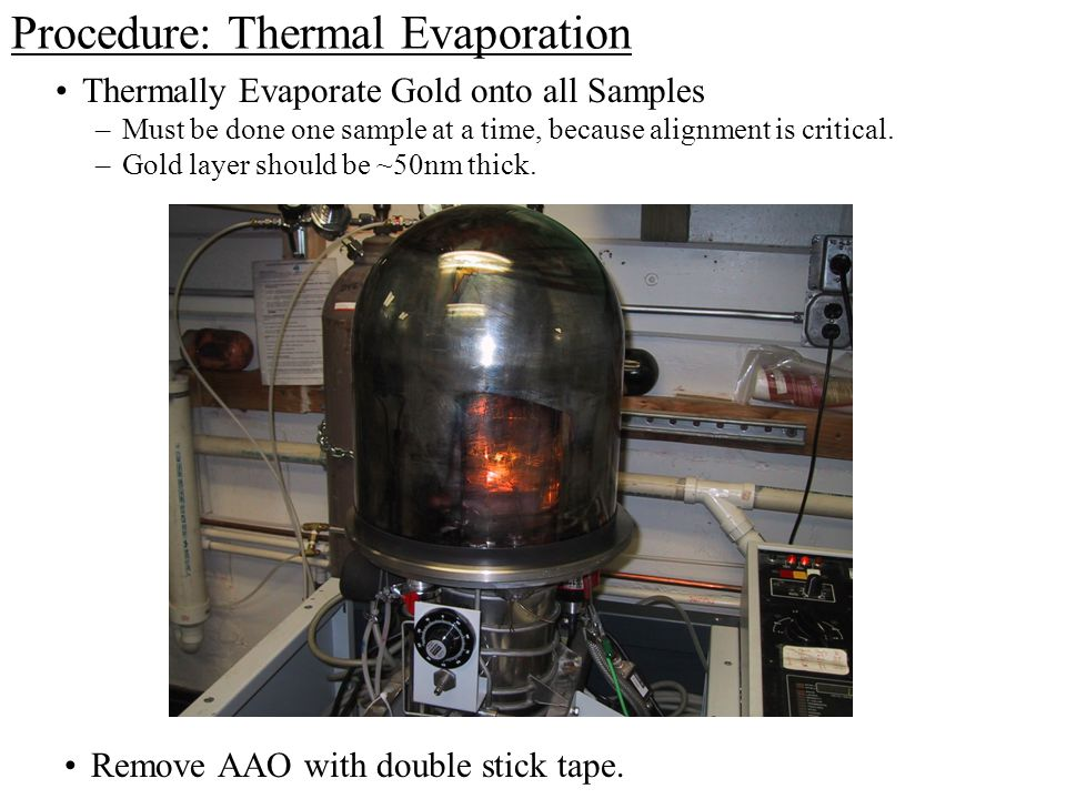Procedure: Thermal Evaporation Remove AAO with double stick tape.