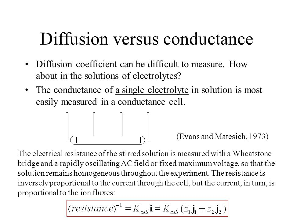 Diffusion versus conductance Diffusion coefficient can be difficult to measure.