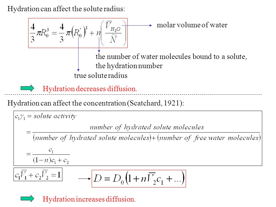 Hydration can affect the solute radius: molar volume of water the number of water molecules bound to a solute, the hydration number true solute radius