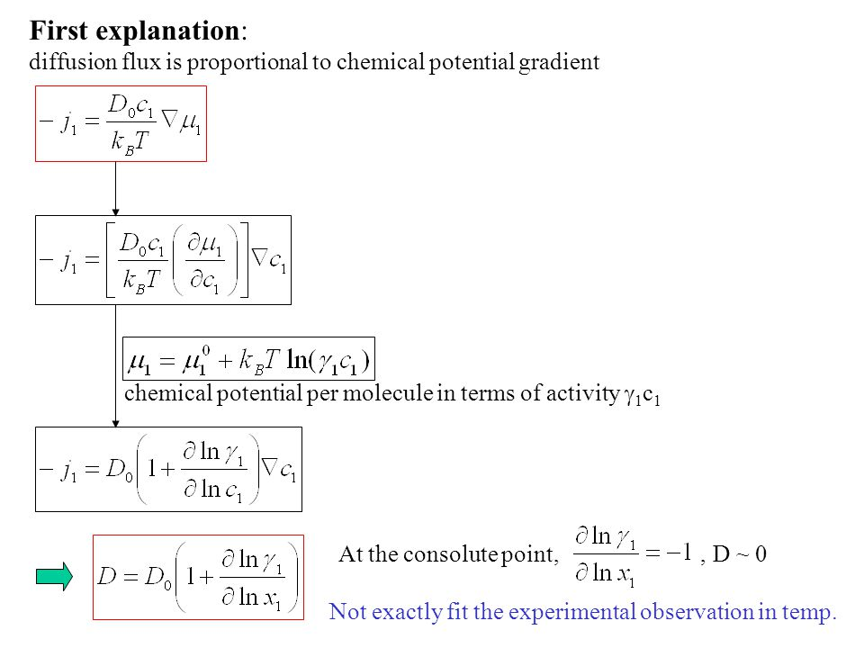 First explanation: diffusion flux is proportional to chemical potential gradient chemical potential per molecule in terms of activity  1 c 1 At the c