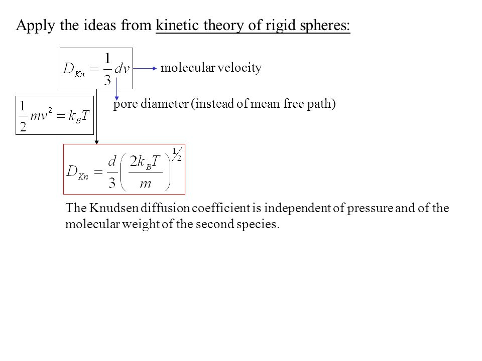Apply the ideas from kinetic theory of rigid spheres: molecular velocity pore diameter (instead of mean free path) The Knudsen diffusion coefficient i